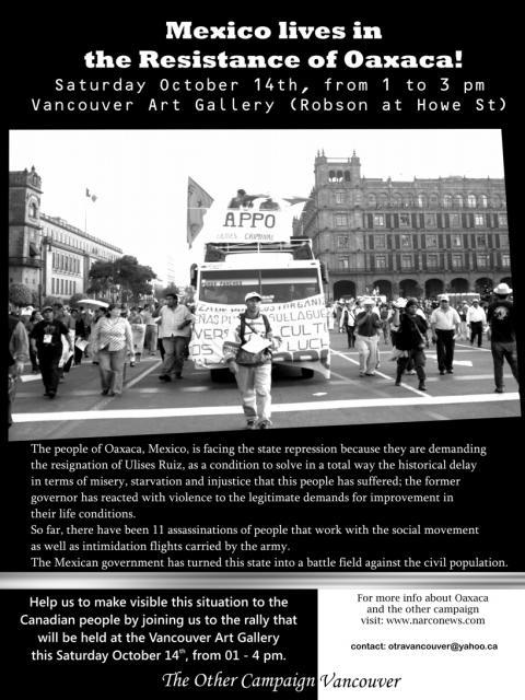 Solidaridad Internacional con la APPO desde Vancouver, Canada