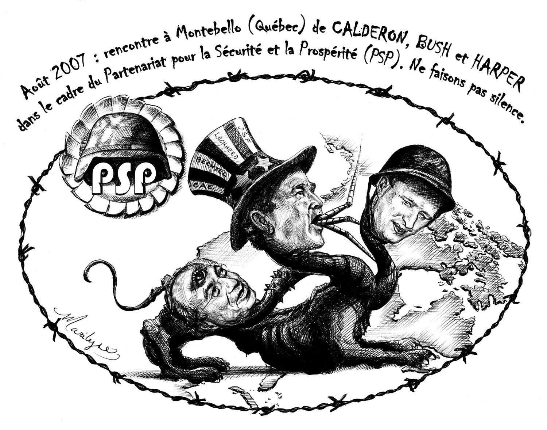 Bush, Harper and Calderon meeting in Montebello, Quebec – Scrap the SPP!