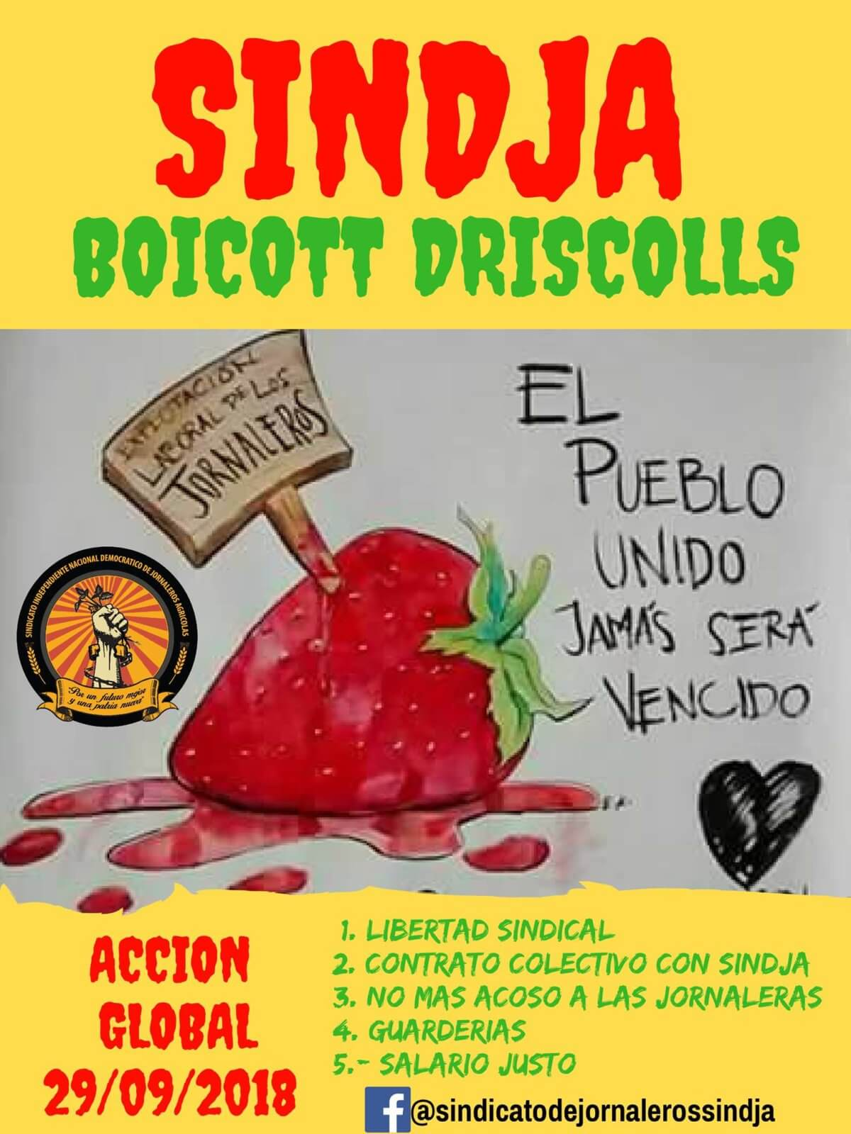 Boycott Driscoll's! Global Action on September 29, 2018